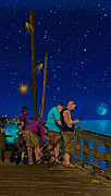 Pier Drawings - A Little Night Fishing at the Rodanthe Pier by Anne Kitzman