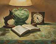 Night Lamp Painting Originals - A Little NIght Reading by William Noonan