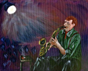 Jazz Band Art - A Little Sax by Donna Blackhall