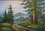 Wyoming Paintings - A Little Wagon Road by Mary Lou Meyer