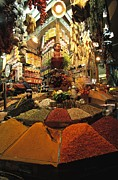 Food Vendors Prints - A Lively And Colorful Spice Market Print by Tim Laman