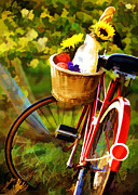 Sparkling Wine Framed Prints - A Loaf of Bread a Jug of Wine and a Bike Framed Print by Elaine Plesser