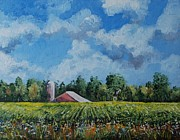 Posters On Paintings - A Local Farm in July by Alla Dickson