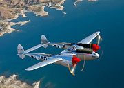 Warbird Photo Posters - A Lockheed P-38 Lightning Fighter Poster by Scott Germain