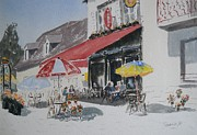 Chaise Painting Posters - A Lombre Dune  Terrasse Dun  Cafe  Shadow Of An Outdoor Pub Poster by Dominique Serusier