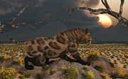 Saber Digital Art - A Lone Sabre Tooth Tiger Observes by Mark Stevenson