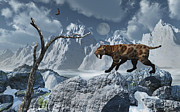 Snow-covered Landscape Digital Art Prints - A Lone Sabre-toothed Tiger In A Cold Print by Mark Stevenson