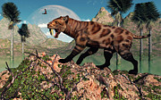 The Tiger Metal Prints - A Lone Sabre-toothed Tiger Metal Print by Mark Stevenson