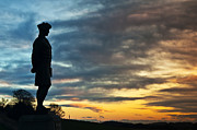 Black Angus Photo Posters - A Lone Scottish Soldier Poster by Derek Whitton