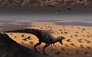 Paleozoology Art - A Lone T. Rex Looks Down On A Large by Mark Stevenson