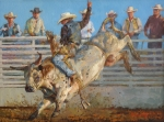 Bull Riding Paintings - A Long 8 Seconds by Jim Clements