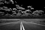 Pavement Digital Art Prints - A Long Dark Road Print by Bill Tiepelman