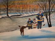 Hockey Paintings - A Long Day by Ron  Genest