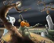 Halloween Digital Art - A Long Night by Hank Nunes