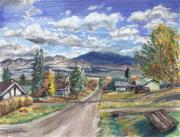 Wyoming Paintings - A Look Down the Street by Dawn Senior-Trask