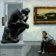 Rodin Prints - A Lot to Think About - oil painting Print by Linda Apple