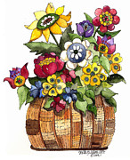 Creative Paintings - A Lovely Basket of Flowers by Shelley Wallace Ylst