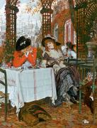 Engagement Painting Prints - A Luncheon Print by Tissot