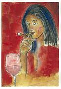 Cigar Mixed Media Prints - A Macanudo A Jug of Wine and Thou. Print by Charles Snyder