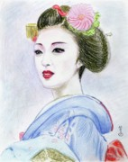 Ethnic Drawings Framed Prints - A Maiko  Girl Framed Print by Yoshiko Mishina