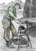 Shoe Drawings - A Man and His Trade - Farrier Art Print color tinted by Kelli Swan