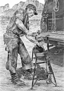 Shoe Drawings - A Man and His Trade - Farrier Art Print by Kelli Swan