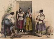 Latinas Prints - A Man And Three Women From Puebla Print by Everett