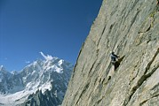 Endurance Sports Prints - A Man Climbing Near Naysar Pass Print by Jimmy Chin