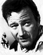 John Wayne Posters - A Man goes his way Poster by Stefan Kuhn