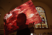 Stained Glass Windows Prints - A Man Holds A Pane Of Stained Glass Print by Mark Thiessen