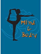 Meditating Digital Art Posters - A Man In A Yoga Position And The Words Mind And Body Poster by Teresa Woo-Murray