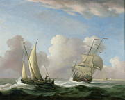 Sailing Paintings - A Man-o-War in a Swell and a Sailing Boat by Peter Monamy