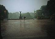 Bethesda Terrace Prints - A Man Scurries Across Bethesda Terrace Print by Melissa Farlow