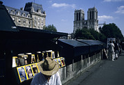 Summer Scene Framed Prints - A Man Sells Magazines Along The Seine Framed Print by Taylor S. Kennedy