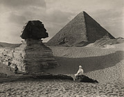 Period Clothing Prints - A Man Sits In Front Of The Great Sphinx Print by Donald Mcleish