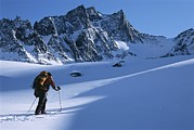 Endurance Sports Prints - A Man Skiing In The Selkirk Mountains Print by Jimmy Chin