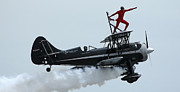 Jet-powered Metal Prints - A Man Strikes A Pose During His Wing Metal Print by Stocktrek Images