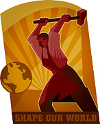 One Person Digital Art Prints - A Man With A Hammer Taking Aim At The Earth To shape Our World Print by Si Huynh