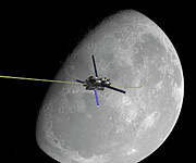 Space Exploration Digital Art - A Manned Lunar Space Elevator Ascends by Walter Myers