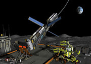 Space Exploration Digital Art - A Manned Lunar Space Elevator Prepares by Walter Myers