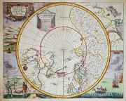 Boat Drawings Prints - A Map of the North Pole Print by John Seller