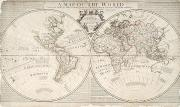 Engraving Metal Prints - A Map of the World Metal Print by John Senex