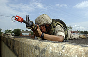 Saw Prints - A Marine Drinks From His Camelbak While Print by Stocktrek Images
