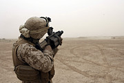Sandstorm Prints - A Marine Fires The M-32 Multiple Shot Print by Stocktrek Images