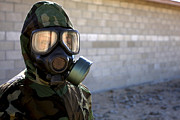 -wars And Warfare- Photos - A Marine Wearing A Gas Mask by Stocktrek Images