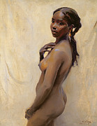 Black Painting Posters - A Marrakesh Girl Poster by Philip Alexius de Laszlo