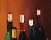 Red Wine Bottle Drawings Prints - A Maryland Wine Party Print by Brien Cole