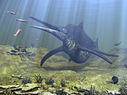 Aquatic Digital Art Metal Prints - A Massive Shonisaurus Attempts To Make Metal Print by Walter Myers