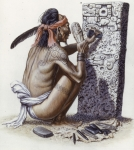 Relief Sculpture Prints - A Maya Artisan Readies A Limestone Print by Terry W. Rutledge
