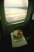 Trays Posters - A Meal Is Served Aboard The Shinkansen Poster by Justin Guariglia